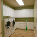 Laundry rooms with specialized layouts, vents, and outlets for your washer and dryer, built by Moughan Builders.