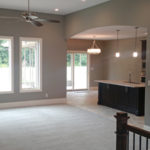 Living room with kitchen in open plan at 2009 Old Ironbridge in Springfield, Illinois.